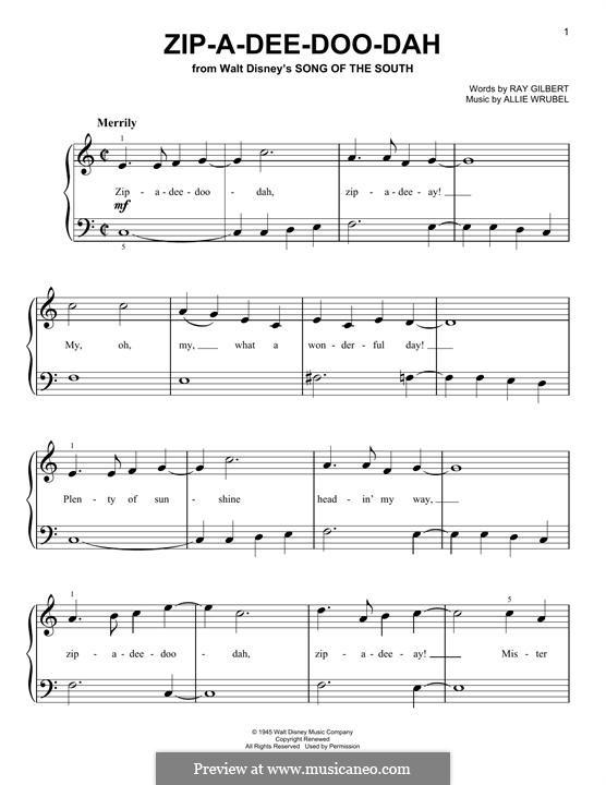 Zip-A-Dee-Doo-Dah: Für Klavier by Allie Wrubel