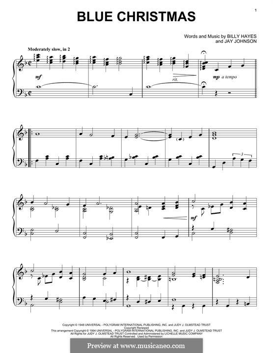 Blue Christmas, for Piano: Für einen Interpreten by Billy Hayes, Jay Johnson