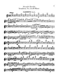 Sinfonie Nr.2 in h-Moll: Klarinettestimmen I-II by Alexander Porfiryevich Borodin