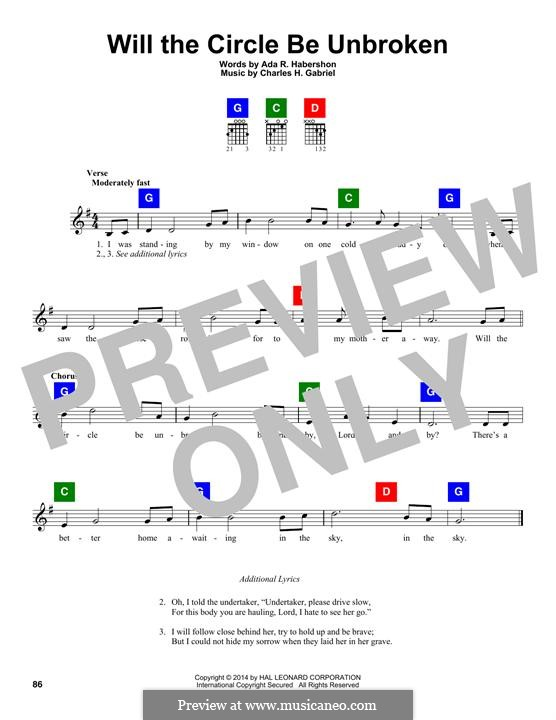 Will the Circle Be Unbroken: Melodische Linie by Charles Hutchinson Gabriel