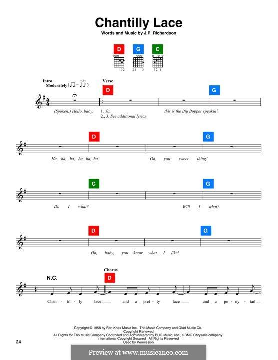 Chantilly Lace (The Big Bopper): Melodische Linie by J.P. Richardson