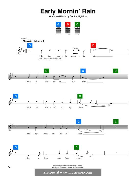 Early Morning Rain (Eva Cassidy): Melodische Linie by Gordon Lightfoot