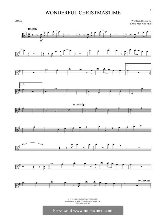 Wonderful Christmastime: For viola by Paul McCartney