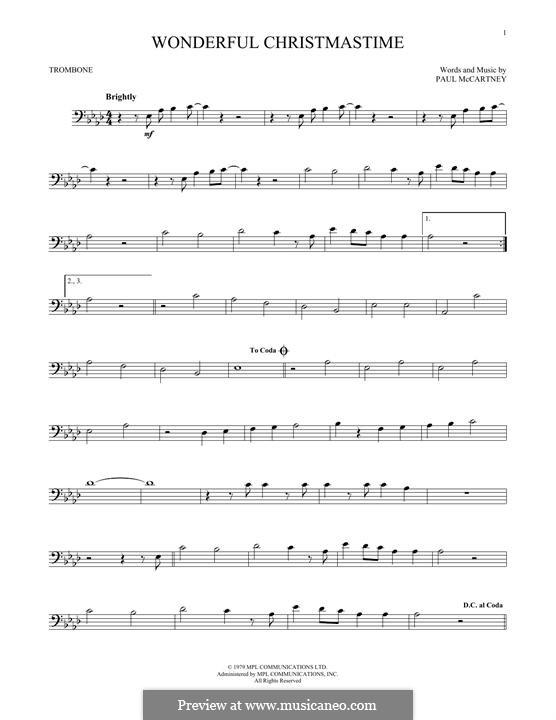 Wonderful Christmastime: For trombone by Paul McCartney
