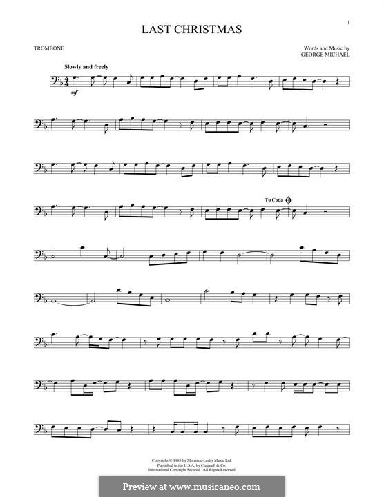 Last Christmas (Wham!): For trombone by George Michael