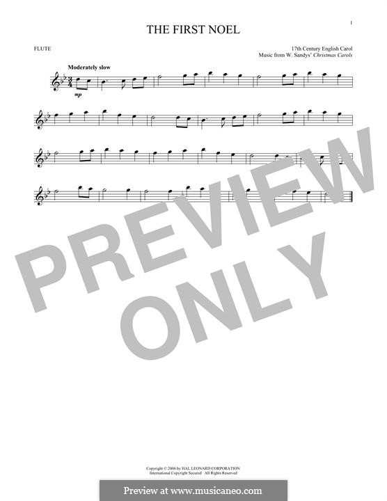 The First Nowell (The First Noël), Printable scores: Für Flöte by folklore