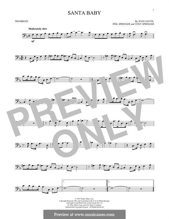 Santa Baby (Eartha Kitt): For trombone by Joan Javits, Philip Springer, Tony Springer