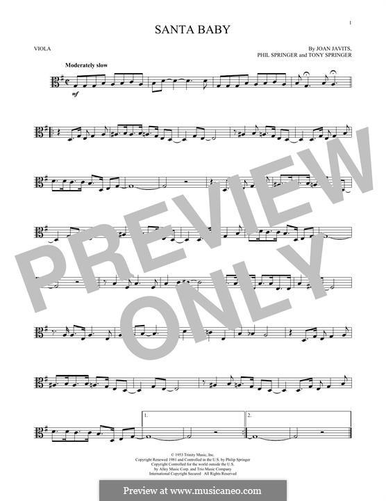 Santa Baby (Eartha Kitt): For viola by Joan Javits, Philip Springer, Tony Springer