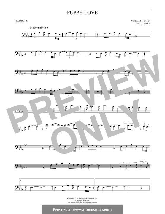 Puppy Love: For trombone by Paul Anka