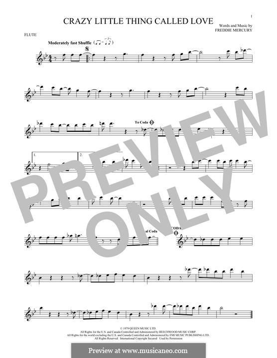 Crazy Little Thing Called Love (Queen): Für Flöte by Freddie Mercury