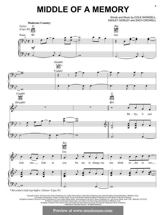 Middle of a Memory: Für Stimme und Klavier by Ashley Gorley, Cole Swindell, Zach Crowell