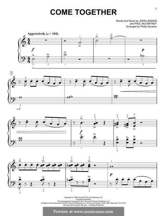 Come Together (The Beatles): For piano (classical version) by John Lennon, Paul McCartney