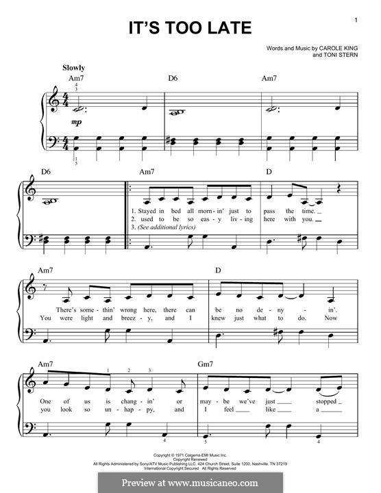 It's Too Late: Für Klavier by Carole King