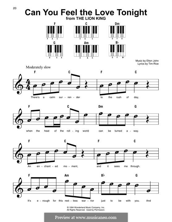 Can You Feel the Love Tonight (from The Lion King), instrument version: For any instrument by Elton John