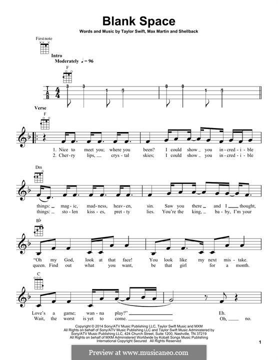 Blank Space: Für Ukulele by Shellback, Max Martin, Taylor Swift