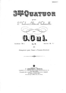 Streichquartett Nr.3 in Es-Dur, Op.91: Violinstimme I by César Cui