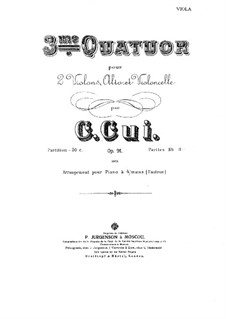 Streichquartett Nr.3 in Es-Dur, Op.91: Violastimme by César Cui