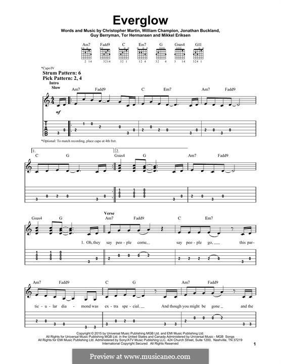 Everglow (Coldplay): Für Gitarre by Chris Martin, Guy Berryman, Jonny Buckland, Mikkel Storleer Eriksen, Tor Erik Hermansen, Will Champion