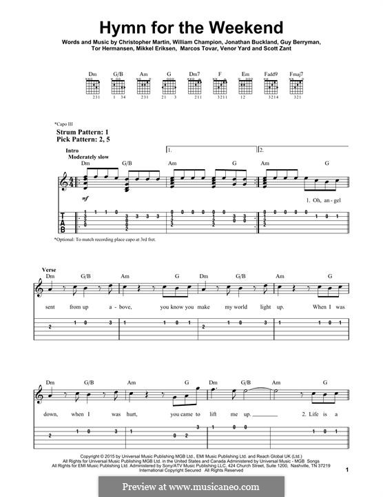 Hymn for the Weekend (Coldplay): Für Gitarre by Chris Martin, Guy Berryman, Jonny Buckland, Mikkel Storleer Eriksen, Will Champion, Marcos Jesus Tovar, Scott Alan Zant, Venor Timothy Yard