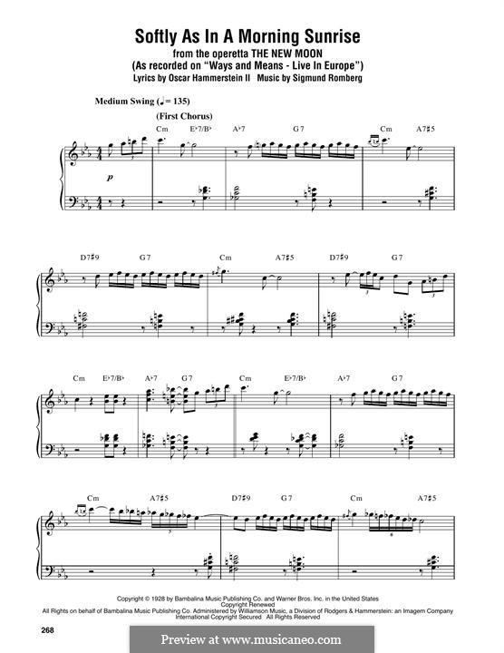 Softly as in a Morning Sunrise: Für Klavier by Sigmund Romberg