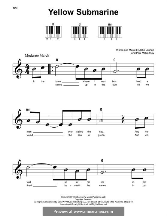 Yellow Submarine (The Beatles): Melodische Linie by John Lennon, Paul McCartney