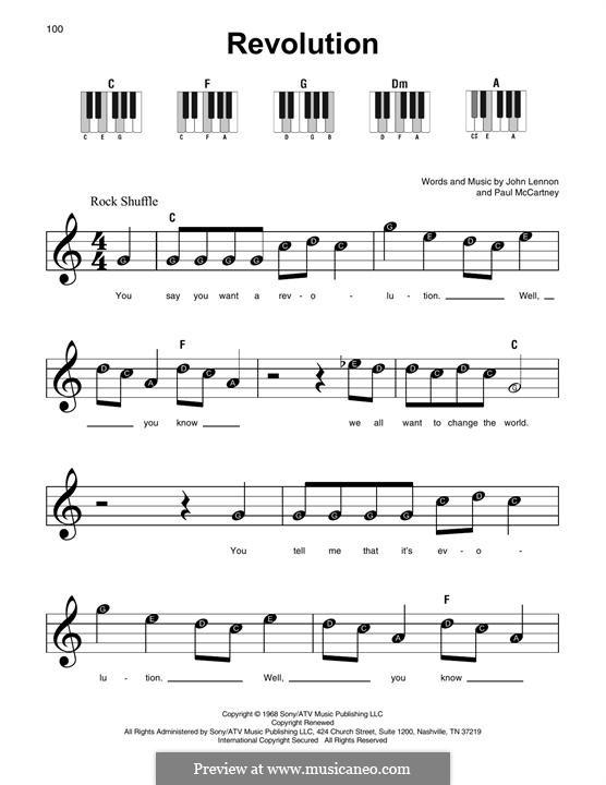Revolution (The Beatles): Melodische Linie by John Lennon, Paul McCartney