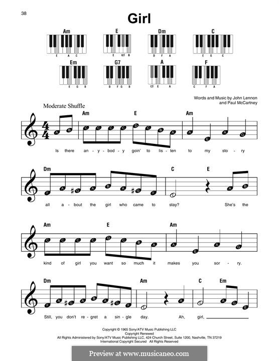 Girl (The Beatles): Melodische Linie by John Lennon, Paul McCartney
