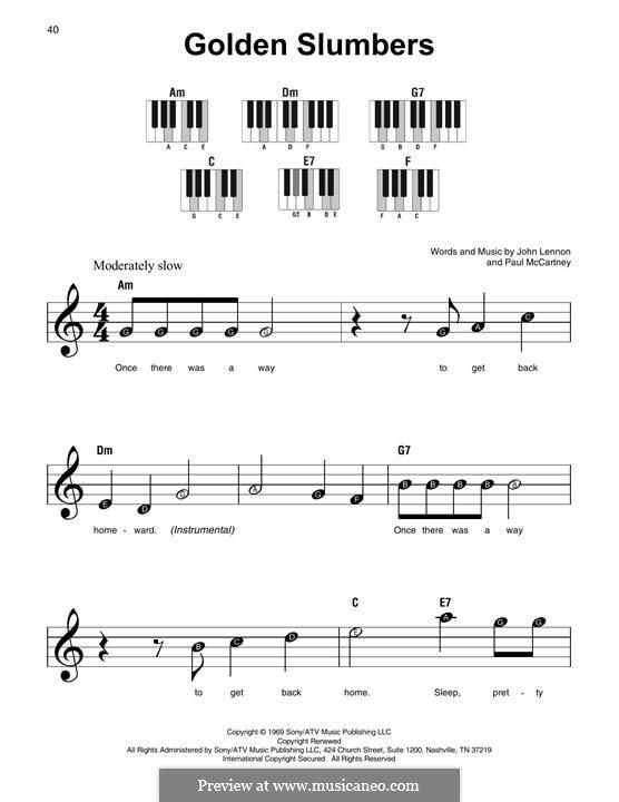 Golden Slumbers (The Beatles): Melodische Linie by John Lennon, Paul McCartney