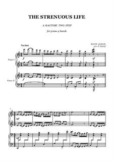 The Strenuous Life: Für Klavier, vierhändig by Scott Joplin