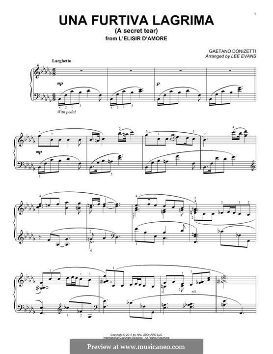 Der Liebestrank: Act II, Romance Nemorino 'Una furtiva lagrima', for piano by Gaetano Donizetti