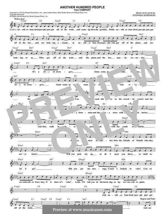 Another Hundred People: Melodische Linie by Stephen Sondheim