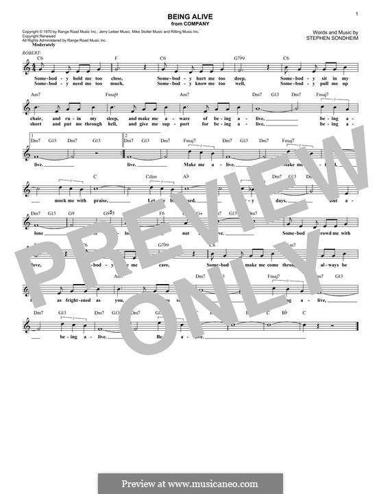 Being Alive (from Company): Melodische Linie by Stephen Sondheim