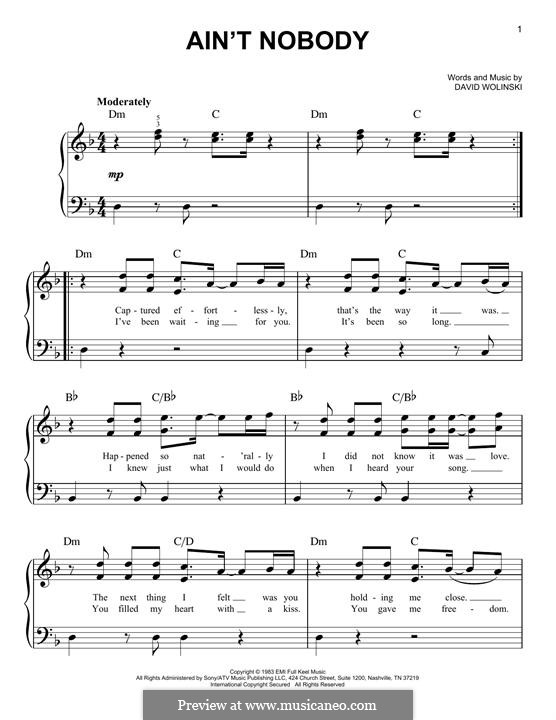 Ain't Nobody (Chaka Khan): Für Klavier by David Wolinski