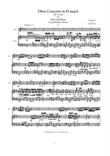 Concerto for Oboe, Strings and Continuo in D Major, TWV51:D5: Version for oboe and piano by Georg Philipp Telemann