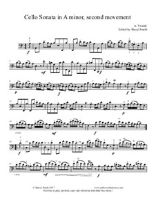 Sonata for Cello No.3 in A Minor, RV 43: Movement II, edited for ease of playing by Antonio Vivaldi