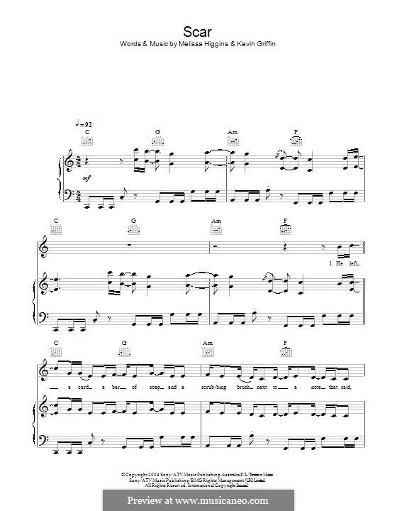 Scar (Missy Higgins): Für Stimme und Klavier (oder Gitarre) by Kevin Griffin, Melissa Higgins