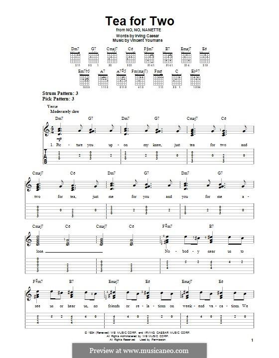 Tea for Two: Für Gitarre mit Tabulatur by Vincent Youmans