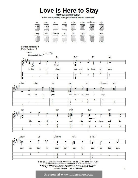 Love is Here to Stay: Für Gitarre mit Tabulatur by George Gershwin