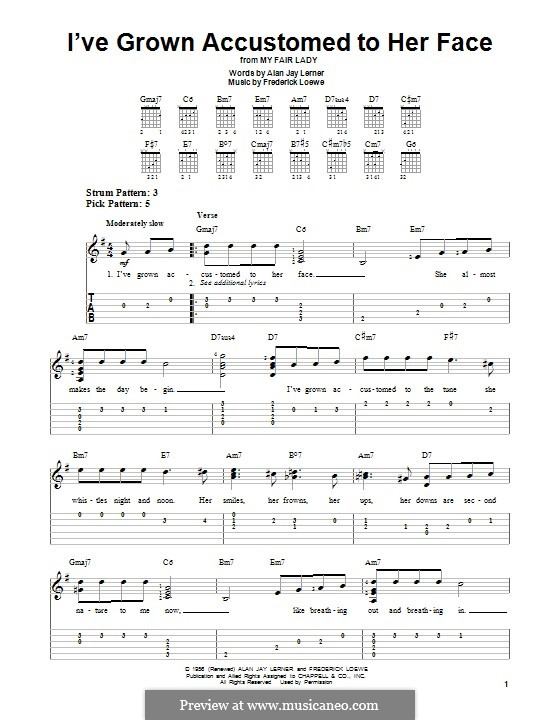 I've Grown Accustomed to Her Face (from My Fair Lady): Für Gitarre mit Tabulatur by Frederick Loewe