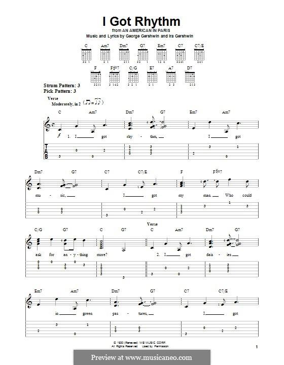 I Got Rhythm: Für Gitarre mit Tabulatur by George Gershwin