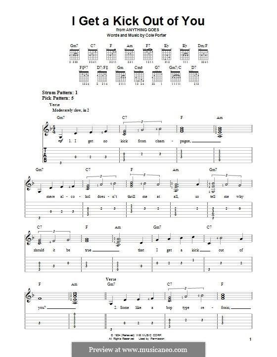I Get a Kick Out of You (Frank Sinatra): Für Gitarre mit Tabulatur by Cole Porter