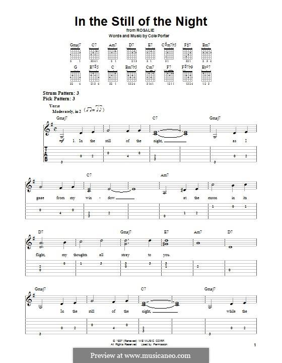 In the Still of the Night: Für Gitarre mit Tabulatur by Cole Porter