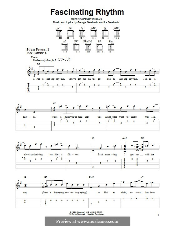 Fascinating Rhythm: Für Gitarre mit Tabulatur by George Gershwin