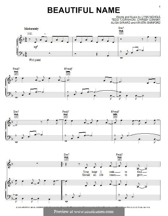 Beautiful Name (ZOEgirl): Für Stimme und Klavier (oder Gitarre) by Chrissy Conway, Tedd Tjornhom, Lynn Nichols, Alisa Girard, Kristin Swinford