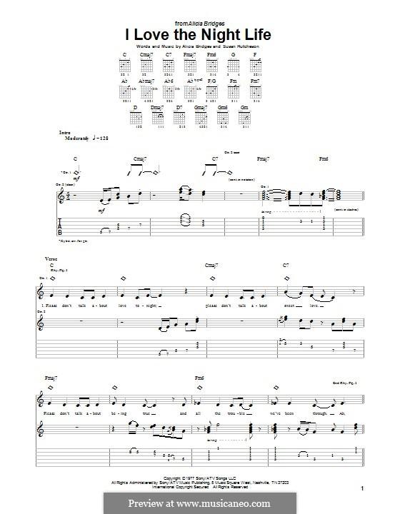 I Love the Night Life: Für Gitarre mit Tabulatur by Alicia Bridges, Susan Hutcheson