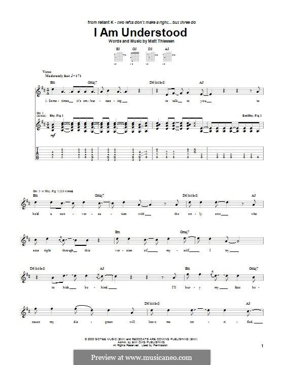 I am Understood (Relient K): Für Gitarre mit Tabulatur by Matt Thiessen