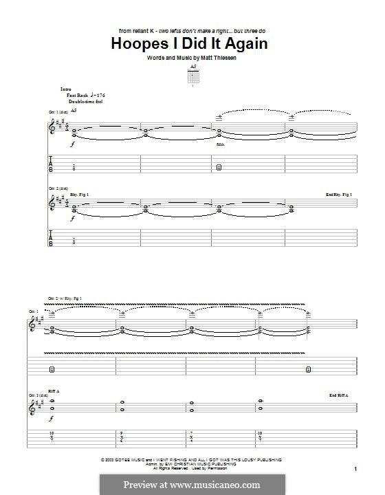 Hoopes I Did It Again (Relient K): Für Gitarre mit Tabulatur by Matt Thiessen
