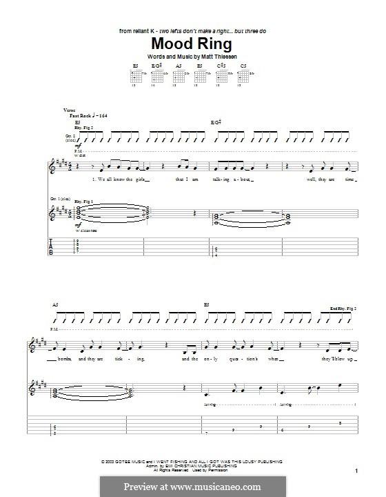 Mood Ring (Relient K): Für Gitarre mit Tabulatur by Matt Thiessen
