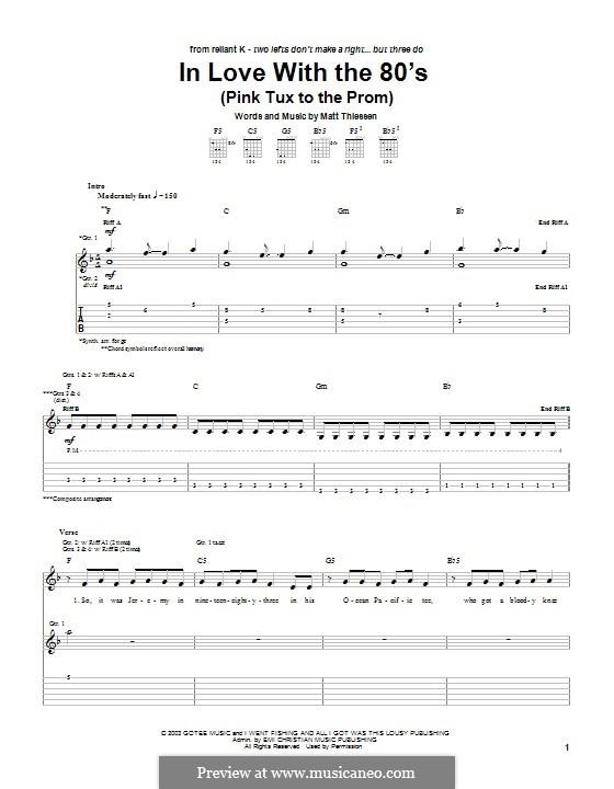 In Love with the 80's (Pink Tux to the Prom): Für Gitarre mit Tabulatur by Matt Thiessen