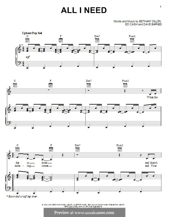 All I Need: Für Stimme und Klavier (oder Gitarre) by Ed Cash, Dave Barnes, Bethany Dillon